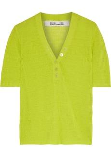 Diane Von Furstenberg Woman Paley Neon Ribbed Linen-blend Top Lime Green