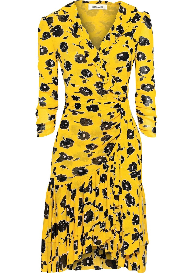 Diane Von Furstenberg Woman Paloma Ruffled Floral-print Mesh Wrap Dress Yellow