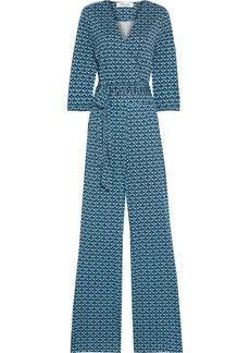 Diane Von Furstenberg Woman Pamela Printed Silk-jersey Wide-leg  Jumpsuit Turquoise