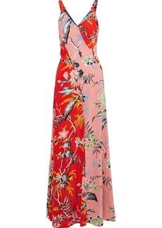 Diane Von Furstenberg Woman Paneled Floral-print Silk Gown Papaya