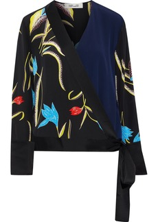Diane Von Furstenberg Woman Paneled Floral-print Silk Wrap Top Black