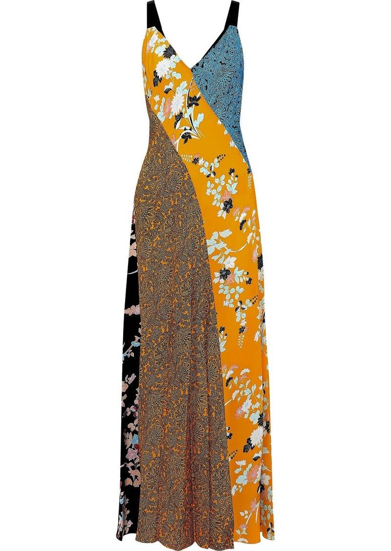 Diane Von Furstenberg Woman Paneled Printed Silk Maxi Dress Saffron