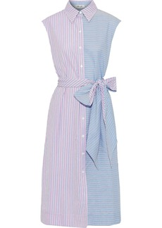 Diane Von Furstenberg Woman Paneled Striped Cotton-poplin Midi Shirt Dress Pink