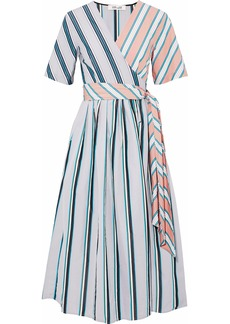 Diane Von Furstenberg Woman Paneled Striped Cotton-poplin Midi Wrap Dress Light Gray