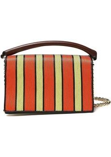 Diane Von Furstenberg Woman Paneled Striped Leather And Canvas Shoulder Bag Multicolor
