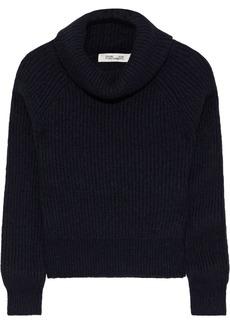 Diane Von Furstenberg Woman Pax Ribbed-knit Turtleneck Sweater Midnight Blue