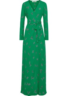 Diane Von Furstenberg Woman Peggy Printed Crepe De Chine Maxi Wrap Dress Green