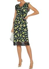 Diane Von Furstenberg Woman Peona Printed Georgette-trimmed Silk Crepe De Chine Wrap Top Black
