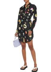 Diane Von Furstenberg Woman Peyton Belted Silk-blend Satin-jacquard Mini Shirt Dress Black