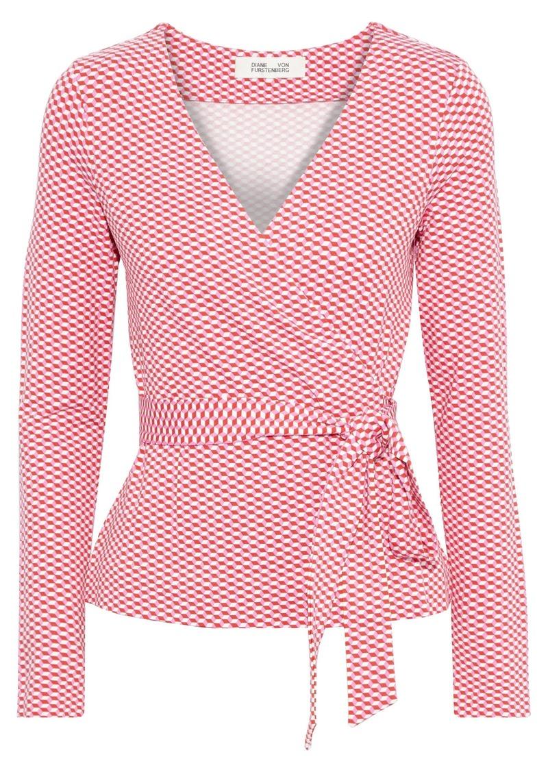 Diane Von Furstenberg Woman Pheona Printed Stretch-jersey Wrap Top Red