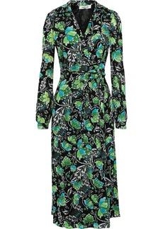 Diane Von Furstenberg Woman Phoenix Printed Mesh Midi Wrap Dress Black