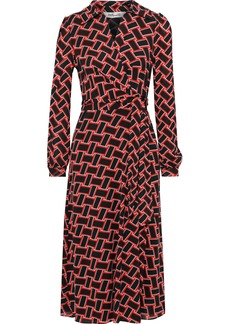 Diane Von Furstenberg Woman Phoenix Printed Mesh Midi Wrap Dress Black
