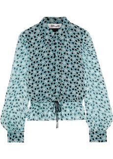 Diane Von Furstenberg Woman Pilla Printed Silk-georgette Shirt Turquoise