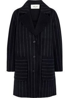 Diane Von Furstenberg Woman Pinstriped Wool-blend Felt Coat Midnight Blue