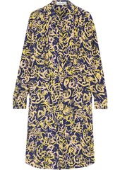 Diane Von Furstenberg Woman Pintucked Printed Silk Crepe De Chine Shirt Dress Navy