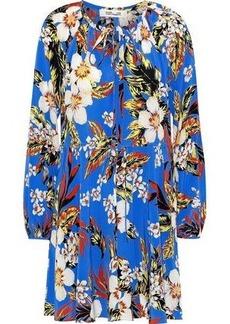 Diane Von Furstenberg Woman Pleated Floral-print Silk Crepe De Chine Mini Dress Cobalt Blue