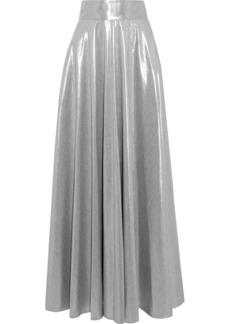 Diane Von Furstenberg Woman Pleated Lamé Maxi Skirt Silver