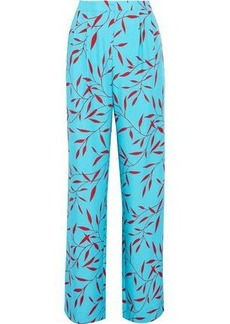 Diane Von Furstenberg Woman Pleated Printed Woven Silk Wide-leg Pants Turquoise
