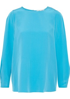 Diane Von Furstenberg Woman Pleated Washed-silk Blouse Turquoise