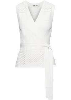 Diane Von Furstenberg Woman Pointelle-knit Wrap Top Ivory