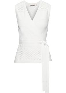 Diane Von Furstenberg Woman Pointelle-knit Wrap Top Ivory