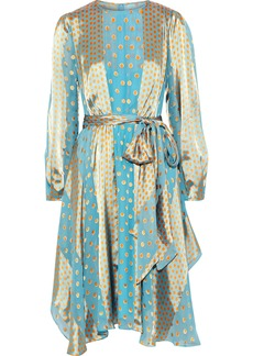 Diane Von Furstenberg Woman Polka-dot Satin-paneled Fil Coupé Silk-blend Chiffon Dress Light Blue