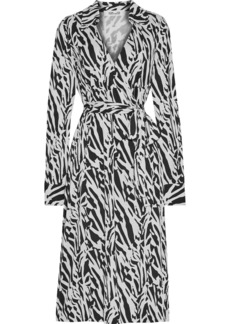 Diane Von Furstenberg Woman Power Wrap-effect Tiger-print Silk-jersey Midi Dress Black