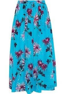 Diane Von Furstenberg Woman Printed Cotton And Silk-blend Midi Skirt Turquoise