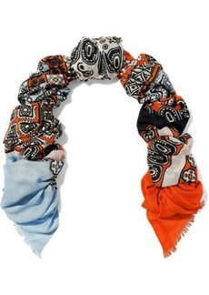 Diane Von Furstenberg Woman Printed Modal And Cashmere-blend Scarf Papaya