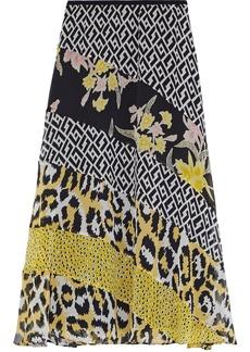 Diane Von Furstenberg Woman Darcie Paneled Printed Silk-chiffon Midi Skirt Black