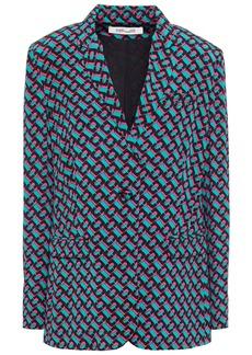 Diane Von Furstenberg Woman Printed Silk-crepe Blazer Black
