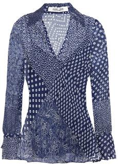 Diane Von Furstenberg Woman Printed Silk-crepon Top Navy