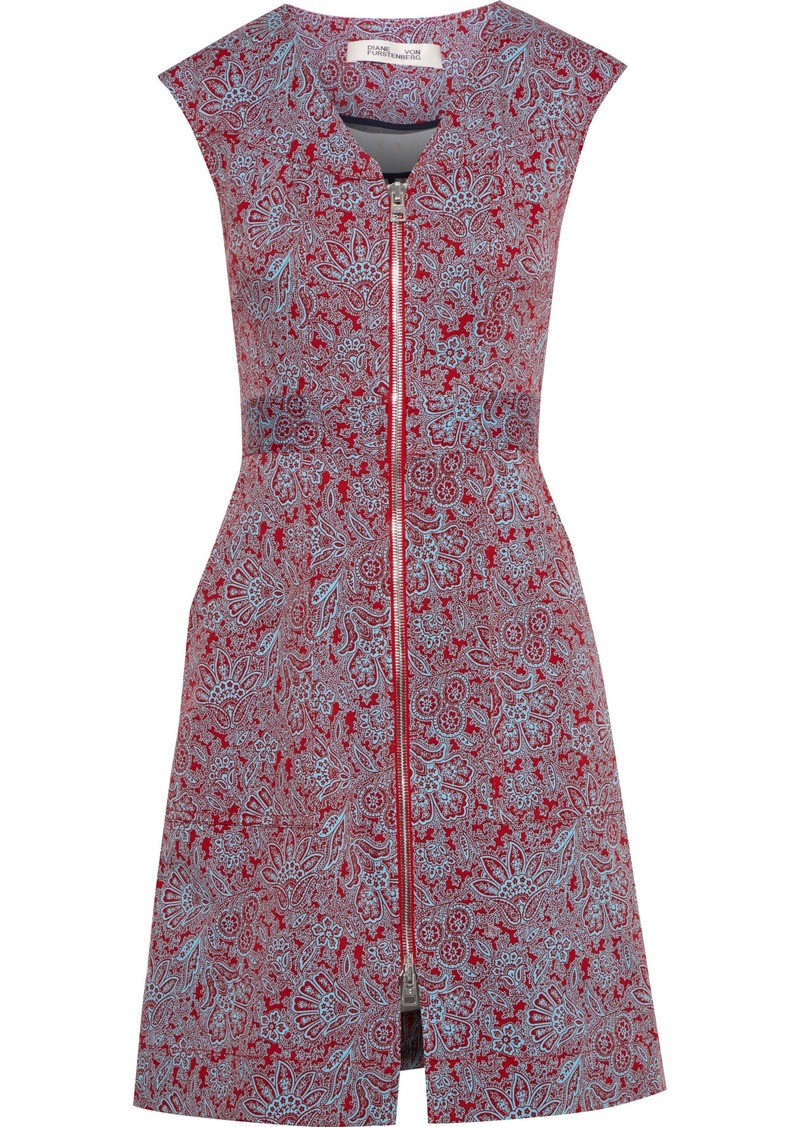 Diane Von Furstenberg Woman Printed Stretch-cotton Twill Mini Dress Claret