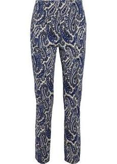 Diane Von Furstenberg Woman Printed Stretch-cotton Twill Slim-leg Pants Royal Blue