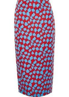 Diane Von Furstenberg Woman Printed Stretch-jersey Midi Pencil Skirt Azure