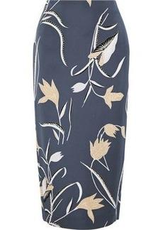 Diane Von Furstenberg Woman Printed Stretch-jersey Midi Pencil Skirt Storm Blue