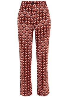 Diane Von Furstenberg Woman Printed Stretch-silk Crepe Straight-leg Pants Black