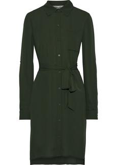 Diane Von Furstenberg Woman Prita Belted Crepe De Chine Shirt Dress Dark Green