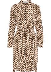Diane Von Furstenberg Woman Prita Belted Printed Silk Crepe De Chine Shirt Dress Light Brown