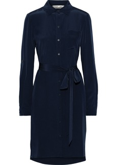 Diane Von Furstenberg Woman Prita Belted Silk Shirt Dress Navy
