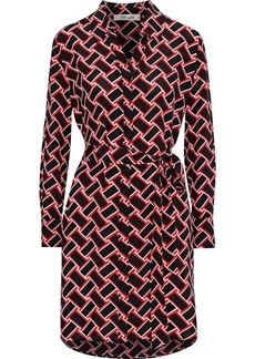 Diane Von Furstenberg Woman Belted Printed Silk Crepe De Chine Mini Dress Black