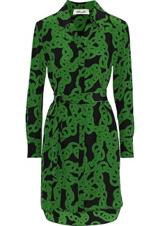 Diane Von Furstenberg Woman Prita Printed Silk Crepe De Chine Mini Shirt Dress Green