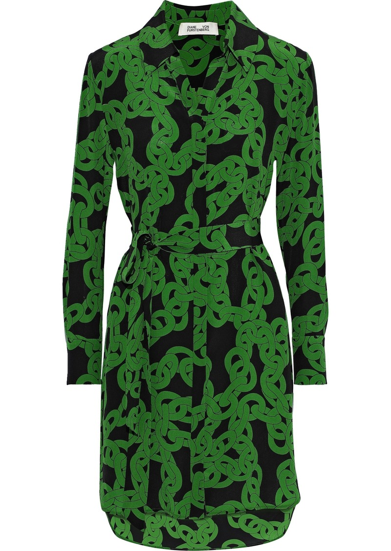 Diane Von Furstenberg Woman Belted Printed Silk Crepe De Chine Mini Dress Green