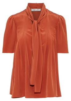 Diane Von Furstenberg Woman Pussy-bow Washed-silk Blouse Brick