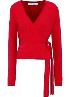 Diane Von Furstenberg Woman Quilted Stretch-knit Wrap Top Red