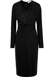 Diane Von Furstenberg Woman Regina Twist-front Silk-trimmed Jersey Dress Black