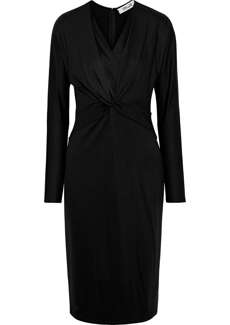 Diane Von Furstenberg Woman Regina Twist-front Silk-trimmed Jersey Dress Black