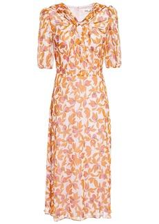 Diane Von Furstenberg Woman Remina Knotted Floral-print Silk-georgette Midi Dress Orange