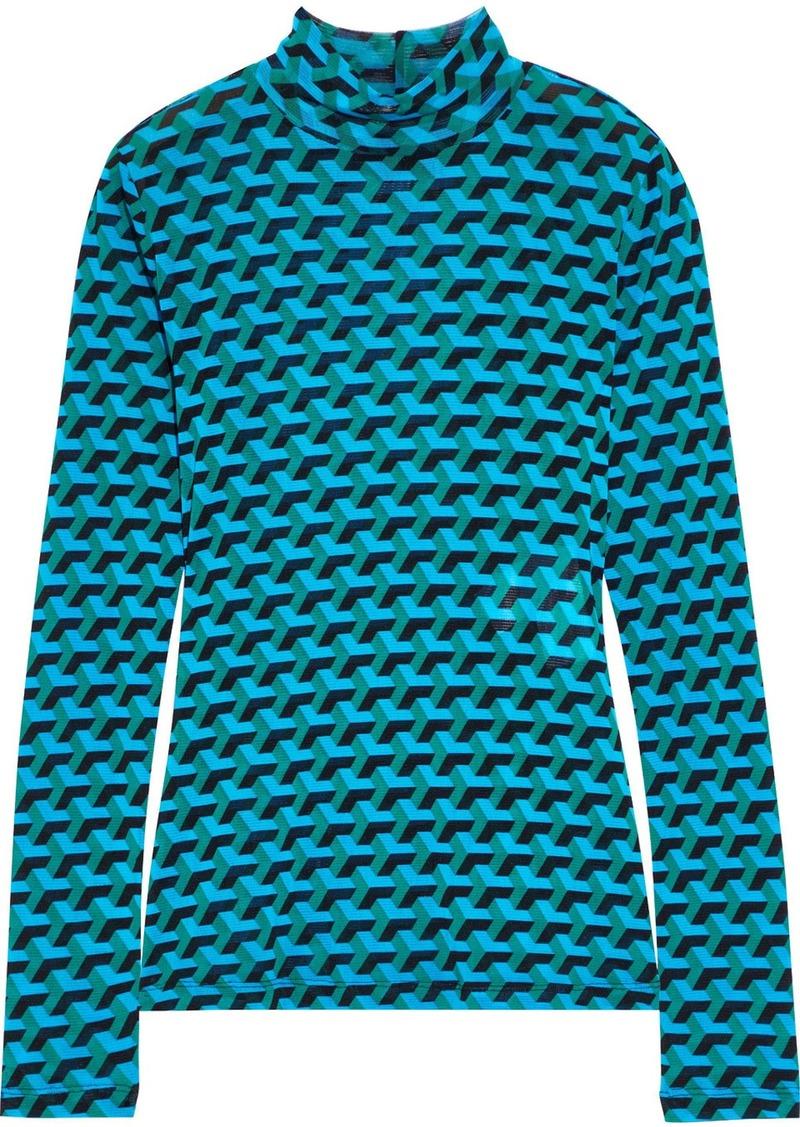 Diane Von Furstenberg Woman Remy Floral-print Stretch-mesh Top Azure