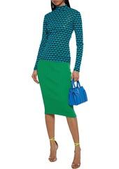 Diane Von Furstenberg Woman Remy Floral-print Stretch-mesh Top Midnight Blue